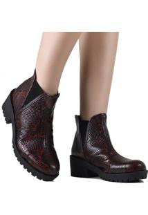 Bota Zariff Shoes Chelsea Animal Print Vermelho