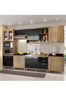 Cozinha Completa Sem Tampo 15 Portas 5834 Argila/Preto - Multimóveis