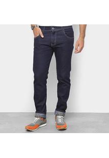Calça Jeans Slim Coffee Lavagem Clássica Cintura Média Masculina - Masculino-Azul