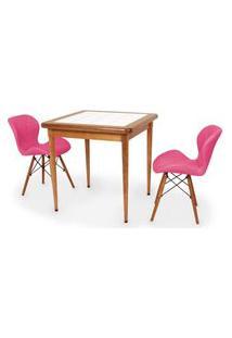 Conjunto Mesa De Jantar Em Madeira Imbuia Com Azulejo + 2 Cadeiras Slim - Rosa