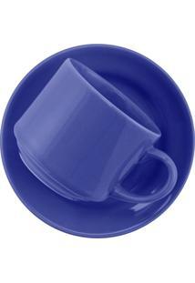 Xícara De Chá Oxford Biona Donna Em Cerâmica Azul Com Pires 200Ml