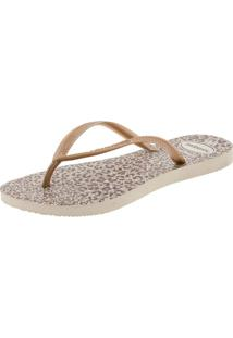 Chinelo Feminino Slim Animals Havaianas - 4103352 Bege 01 35/36