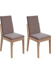 Conjunto Com 2 Cadeiras Lira Carvalho E Rose