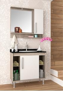 Conjunto Para Banheiro Brisa Barrique/Branco C/ Marmore Verde Bosi