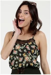 Blusa Feminina Estampa Floral Alças Finas Marisa