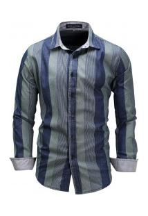 Camisa Masculina Com Listras Verticais Manga Longa