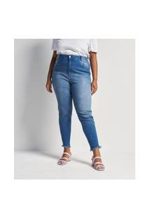 Calça Jeans Skinny Lisa Com Barra Desfiada Curve E Plus Size Azul