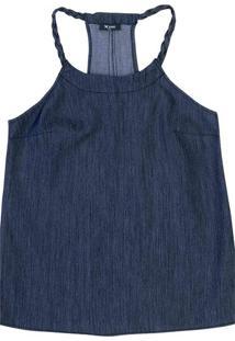 Regata Jeans Feminina Em Algodão Com Alça Trançada