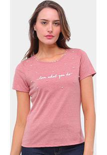Camiseta Lecimar Bordado Aplicação Feminina - Feminino-Vermelho Escuro