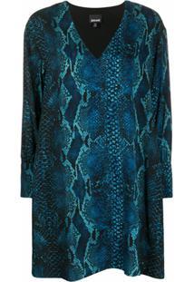 Just Cavalli Vestido Gola V Com Estampa Pele De Cobra - Azul