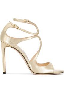 Jimmy Choo Sandália De Tiras Com Renda - Dourado