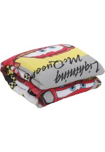 Edredom Solteiro Santista Disney Light Cars Champions 150X220Cm Cinza/Amarelo