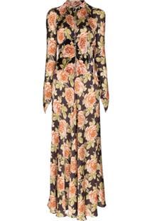 Paco Rabanne Vestido Evasê Com Estampa Floral - Estampado