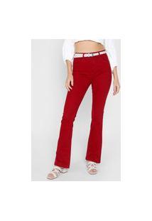 Calça Sarja Polo Wear Flare Lisa Vermelha