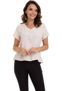 Blusa Crepe Botões Forrados Renda No Ombro Feminino - Feminino