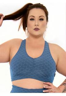 Top Plus Size Com Decote Franzido Sem Bojo Azul