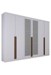 Guarda-Roupa Casal Com Espelho 6 Portas E 8 Gavetas Quebec- Novo Horizonte - Branco