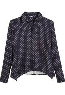 Camisa Dudalina Manga Longa Lenço Estampa Cashmere Feminina (Azul Marinho Estampa Mini Cashmere, 46)