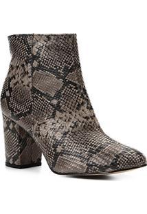 Bota Couro Cano Curto Shoestock Snake Feminina - Feminino-Cinza