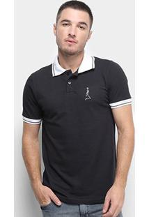 Camisa Polo Derek Ho Friso Caveira Masculina - Masculino-Preto