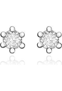 Brinco Solitário Em Ouro Branco 18K Com Diamante Destinee