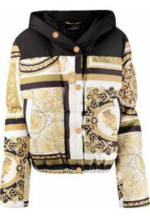 Versace Jaqueta Matelassê Com Estampa - Dourado