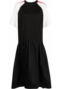 Cynthia Rowley Vestido Evasê Color Block - Preto