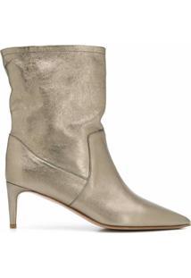 Red(V) Ankle Boot Bico Fino - Dourado