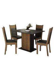 Conjunto Sala De Jantar Madesa Sheila Mesa Tampo De Madeira Com 4 Cadeiras Rustic/Preto Cor:Preto/Rustic