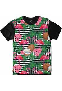 Camiseta Bsc Padrões E Listras Flamingos E Cocos Sublimada Masculina - Masculino-Branco+Preto