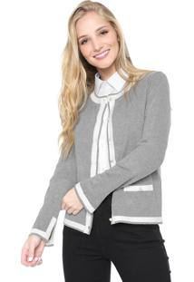 Cardigan Facinelli By Mooncity Tricot Pérola Cinza/Off-White