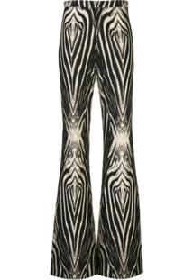 Christian Siriano Calça Flare Com Estampa De Zebra - Preto