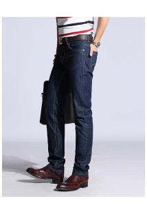 Calça Jeans Masculina Slim Reta - Azul Escuro