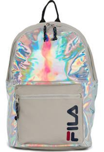 Fila Logo Print Holographic Backpack - Prateado