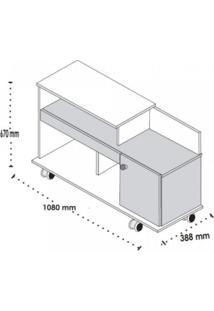 Rack Para Tv Até 32 Polegadas Com 1 Porta Flash Belaflex Madero/Branco