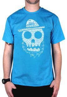 Camiseta Bleed American Beard Skull Turquesa