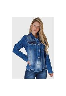Jaqueta Jeans Hno Jeans Assimétrica Azul