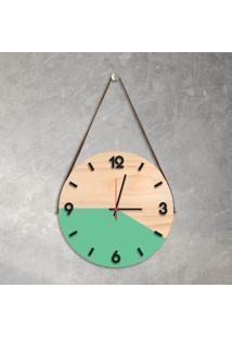 Relógio De Parede Decorativo Adnet Verde Claro Com Números Em Relevo Médio