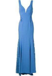 Martha Medeiros Vestido Longo Julienza Renascença - Azul