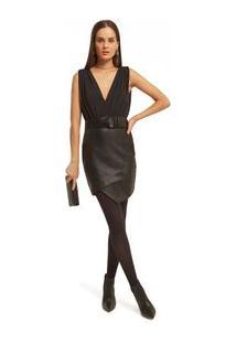 Vestido Morena Rosa Curto Decote Transpassado Composê De Tecidos Preto