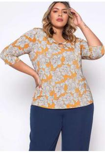 Blusa Almaria Plus Size Pianeta Estampado Cheddar Amarelo