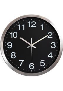 Relógio De Parede 30Cm Preto E Prata