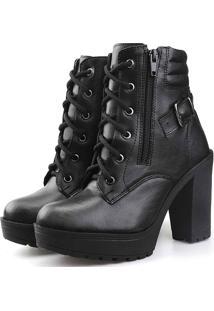 Bota Tratorada Com Fivela Touro Boots Feminina Preto - Kanui