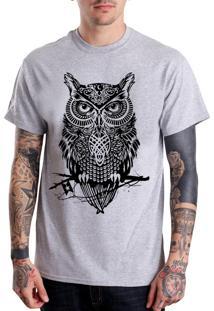 Camiseta Hypnotic Coruja Cinza Mescla