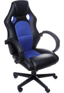 Cadeira Office Gamer- Preta & Azul- 117X60X51Cm-Or Design