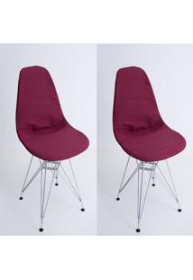 Kit Com 02 Capas Para Cadeira Charles Eames Eiffel Wood Vinho - Kanui