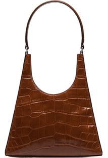 Staud Rey Croc Effect Shoulder Bag - Marrom