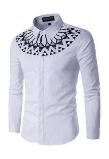 Camisa Estampada Masculina Slim Manga Longa - Branco