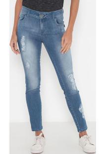 Jeans Cigarrete Destroyed- Azul- Tritontriton
