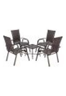 Conjunto Mesa Baixa E 4 Cadeiras Para Área Edicula Jardim Bela, Ferro E Fibra Trama Fechada Pedra Ferro